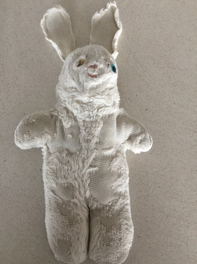 The famous Mr Rabbit looking a bit worse for wear!