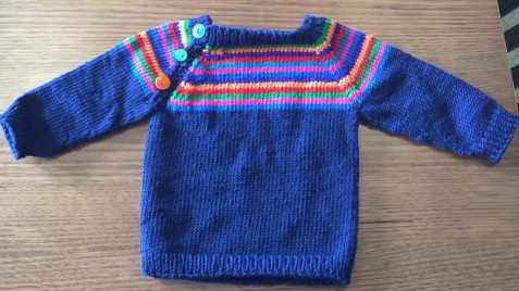 Jan's project has been this beautiful baby's jumper.